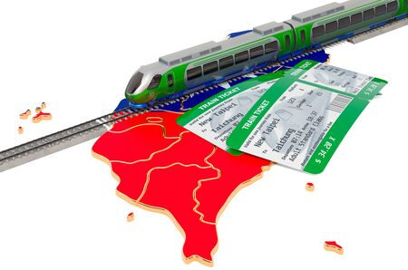 Train travel in Taiwan, concept  3D rendering isolated on white