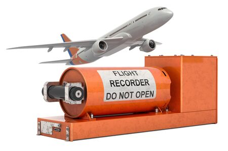 Airplane with flight data recorder, black box. 3D rendering  isolated on white background