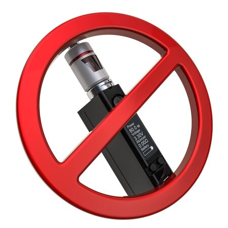 No vaping concept. Forbidden sign with Box Mod e-cigarette, 3D rendering isolated on white background Stock Photo