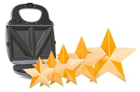 Kundenbewertung von Sandwichmaker, Konzept. 3D-Rendering auf weißem Hintergrund