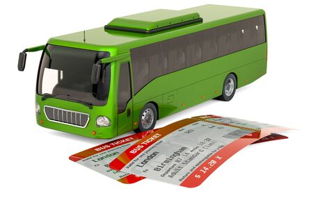 Bus with tickets. Travel concept, 3D rendering isolated on white background