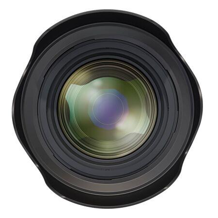 Lente de cámara fotográfica, vista frontal. Representación 3D aislada en el fondo blanco