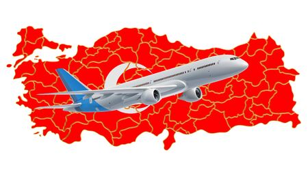 Flights to Turkey, travel concept. 3D rendering isolated on white background Standard-Bild