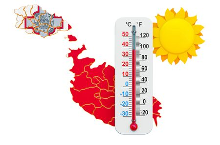 Heat in Malta concept. 3D rendering isolated on white background