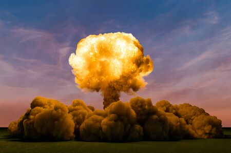 Atom Bomb Explosion, 3D rendering isolated on white background