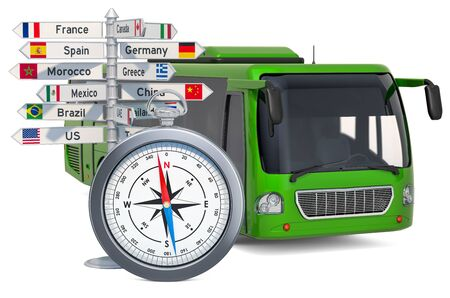 Bus travel concept. Bus with compass and signpost, 3D rendering isolated on white background Фото со стока