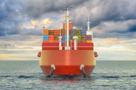 Cargo ship with cargo containers sailing in ocean, 3D rendering Stock Photo