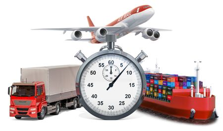 Fast delivery concept. Chronometer with truck, airplane and cargo ship. 3D rendering isolated on white background