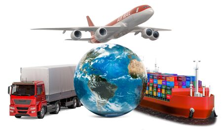 Global delivery concept. Air freight, cargo shipping  and worldwide freight transportation. 3D rendering isolated on white background
