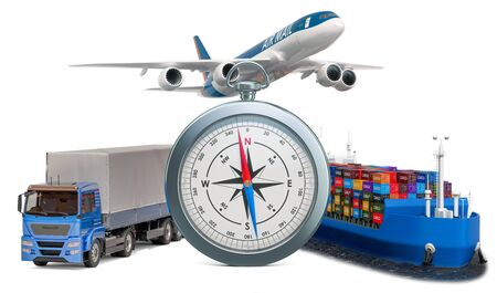 Global delivery concept. Compass with truck, airplane and cargo ship. 3D rendering isolated on white background