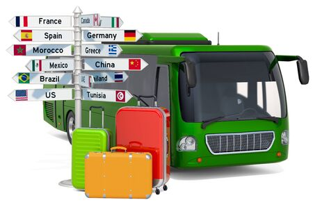 Traveling by Bus concept. Bus with suitcases and signpost, 3D rendering isolated on white background Фото со стока