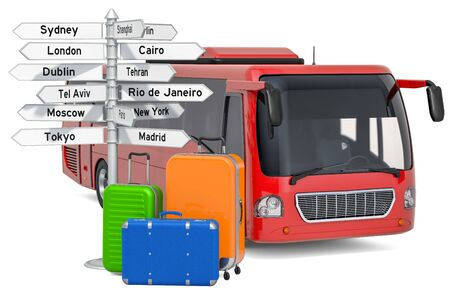 Bus travel concept. Bus with suitcases and signpost, 3D rendering isolated on white background