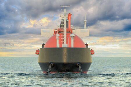 Gas carrier sailing in ocean, top view. 3D rendering Stock Photo