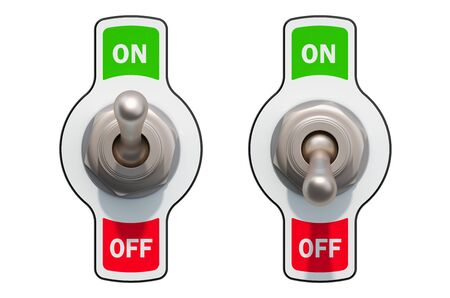 Toggle Switches on and offisolated on white background