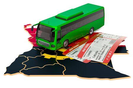 Busreisen in Angola, Konzept. 3D-Rendering auf weißem Hintergrund