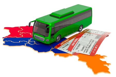 Bus travel in Armenia, concept. 3D rendering isolated on white background