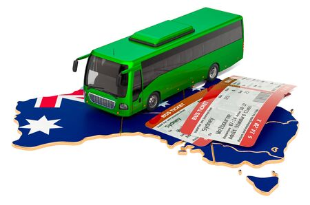 Bus travel in Australia, concept. 3D rendering isolated on white background 写真素材