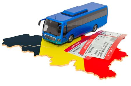 Bus travel in Belgium, concept. 3D rendering isolated on white background