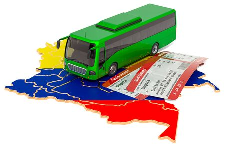 Bus travel in Columbia, concept. 3D rendering isolated on white background