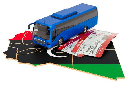 Bus travel in Libya, concept. 3D rendering isolated on white background