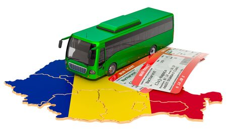 Bus travel in Romania, concept. 3D rendering isolated on white background Imagens