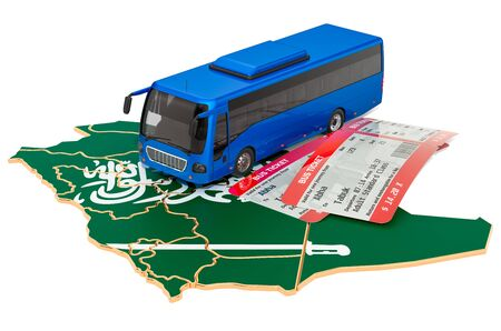 Bus travel in Saudi Arabia, concept. 3D rendering isolated on white background