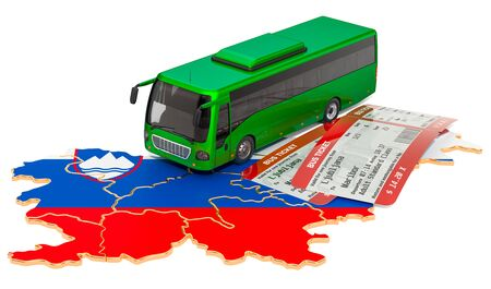 Bus travel in Slovenia, concept. 3D rendering isolated on white background