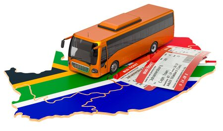 Bus travel in South Africa, concept. 3D rendering isolated on white background