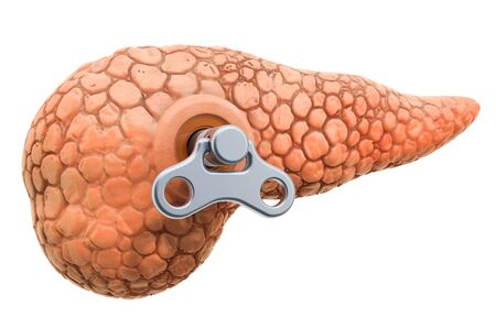 Human pancreas with wind-up key. Treatment and recovery concept. 3D rendering isolated on white background