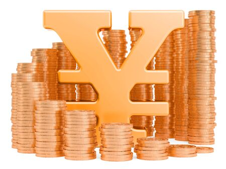 Yen or yuan symbol with golden coins around, 3D rendering isolated on white background