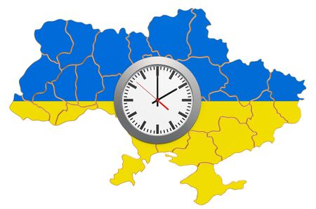 Time Zone in Ukraine concept. 3D rendering isolated on white background