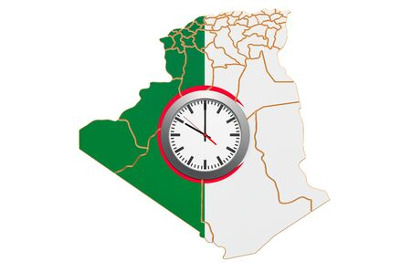Time Zones in Algeria concept. 3D rendering isolated on white background