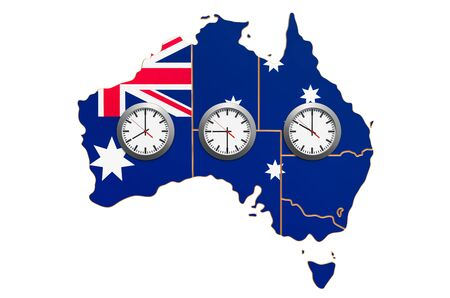 Time Zones in Australia concept. 3D rendering isolated on white background