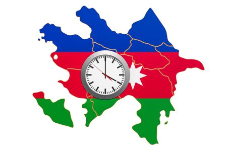 Time Zones in Azerbaijan concept. 3D rendering isolated on white background