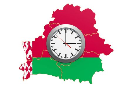 Time Zones in Belarus concept. 3D rendering isolated on white background