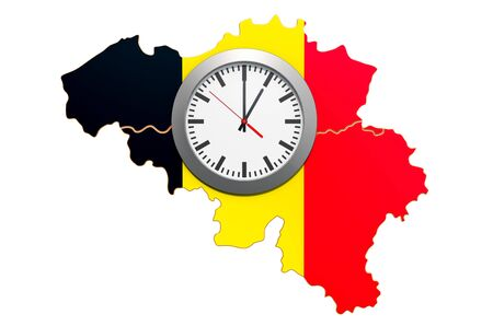 Time Zones in Belgium concept. 3D rendering isolated on white background