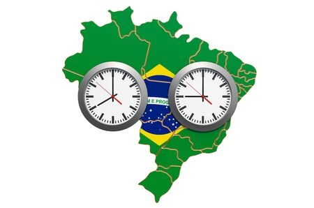 Time Zones in Brazil concept. 3D rendering 写真素材