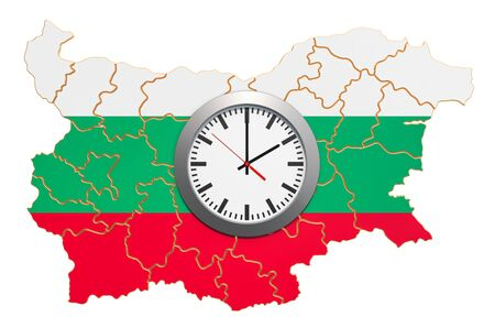 Time Zones in Bulgaria concept. 3D rendering isolated on white background