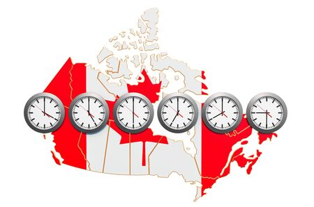 Time Zones in Canada concept. 3D rendering isolated on white background 写真素材