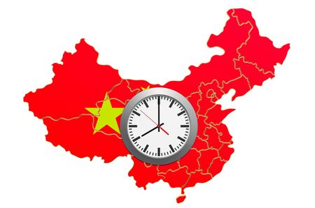 Time Zones in China concept. 3D rendering isolated on white background 写真素材