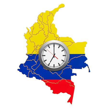 Time Zones in Columbia concept. 3D rendering isolated on white background