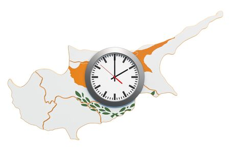 Time Zones in Cyprus concept. 3D rendering