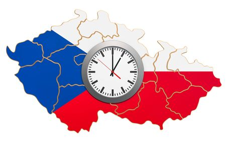 Time Zones in Czech Republic concept. 3D rendering