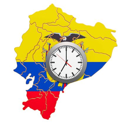 Time Zones in Ecuador concept. 3D rendering isolated on white background