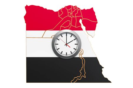 Time Zones in Egypt concept. 3D rendering isolated on white background
