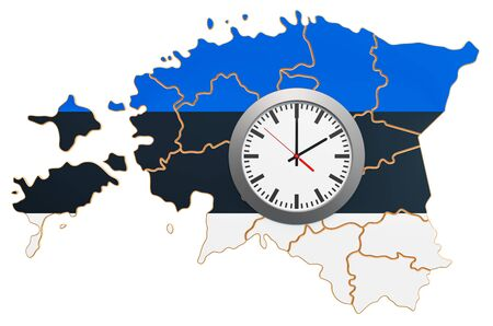 Time Zones in Estonia concept. 3D rendering isolated on white background
