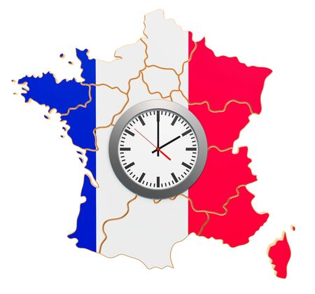 Time Zones in France concept. 3D rendering