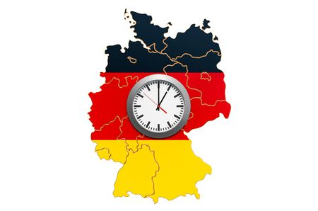 Time Zones in Germany concept. 3D rendering isolated on white background