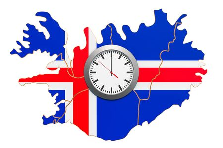 Time Zones in Iceland concept. 3D rendering isolated on white background