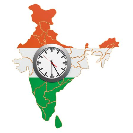 Time Zones in India concept. 3D rendering
